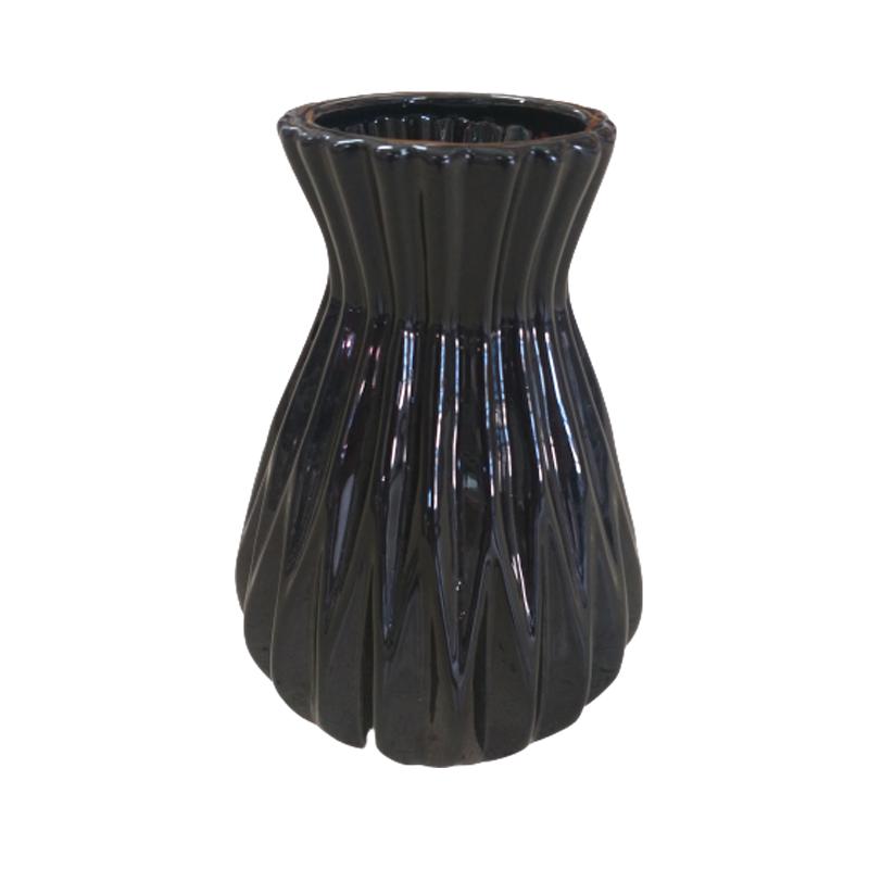 Vaso de cerâmica preto acinturado