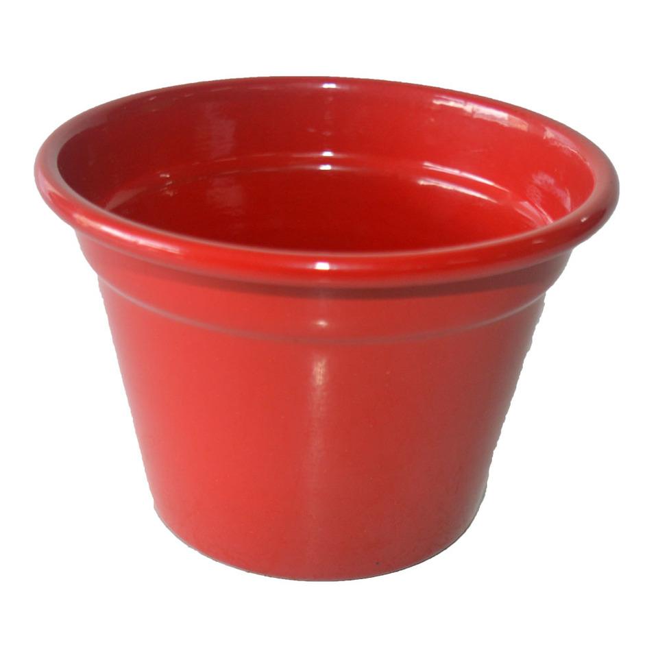 Cachepô  de Alumínio Vermelho<BR> Selecione o tamanho: