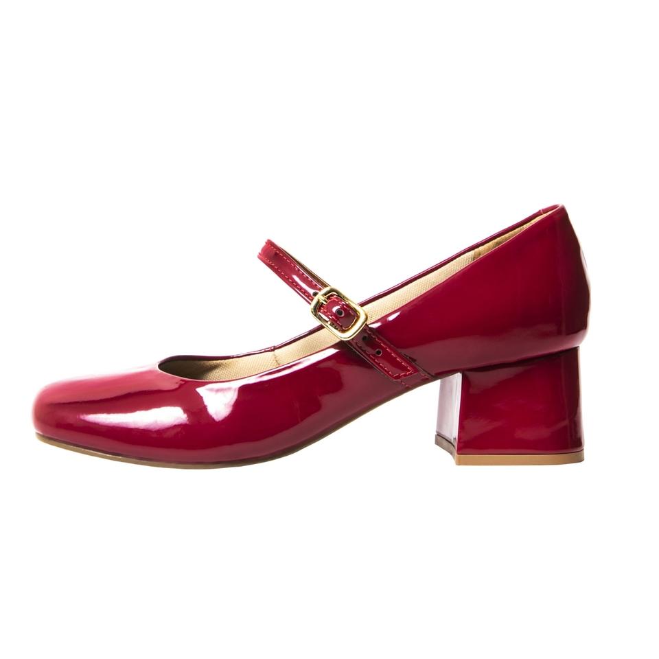 Sapato Retro em Verniz Vermelho
