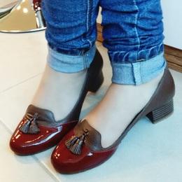 Sapato Mocassim em Couro Marrom e Cereja