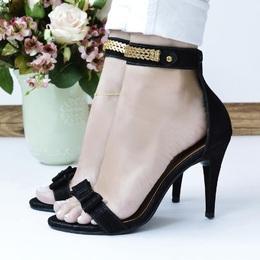 Sandalia Laço Salto Alto Preta