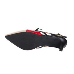 Scarpin Tricolor Nude Preto e Vermelho