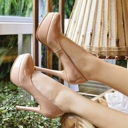 Sapato Meia Pata em Verniz Nude