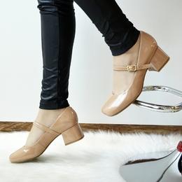 Sapato Retrô em Verniz Nude
