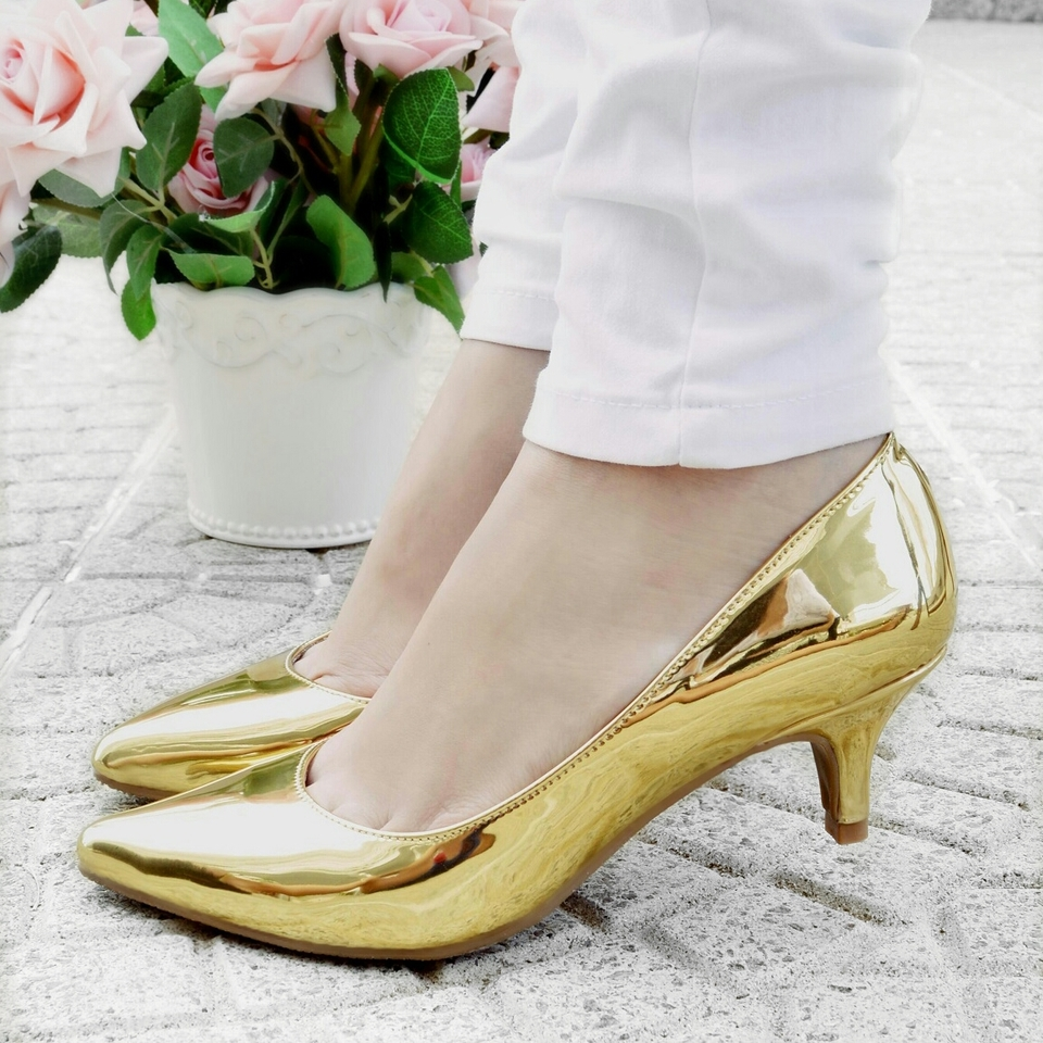 Scarpin Baixo Metalizado Ouro