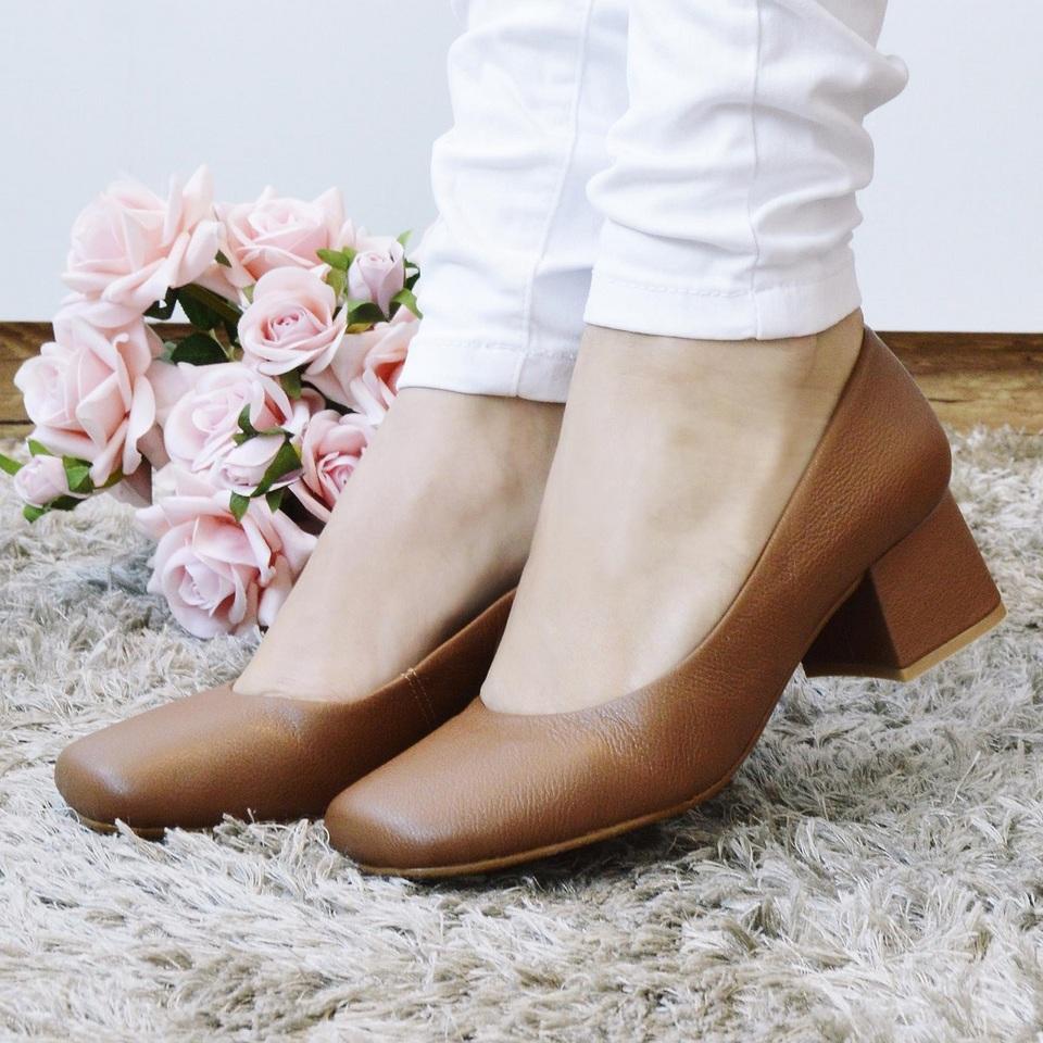 Sapato Retro em Couro Caramelo