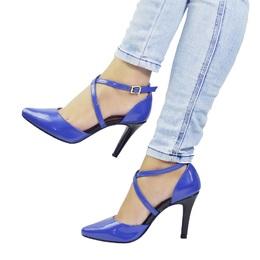 Scarpin Cruzado Verniz Azul