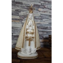 Nossa Senhora Aparecida perolas com coroa metal 30cm/20cm