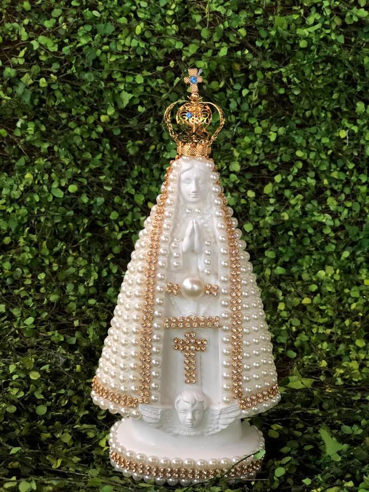 Nossa Senhora Aparecida coroa metal 20cm