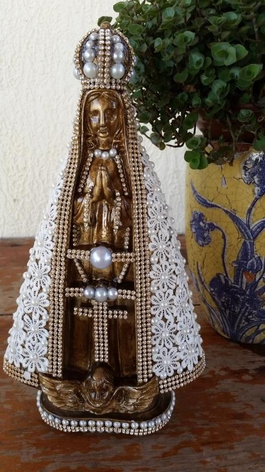 Nossa Senhora Aparecida Barroca Manto em Guipir 30cm