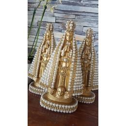 Nossa Senhora Aparecida Dourada 20cm Perolas