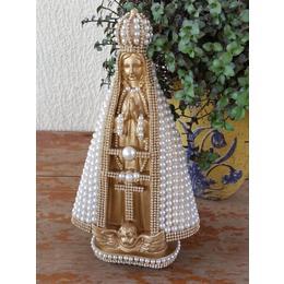 Nossa Senhora Aparecida Dourada em perolas 30cm
