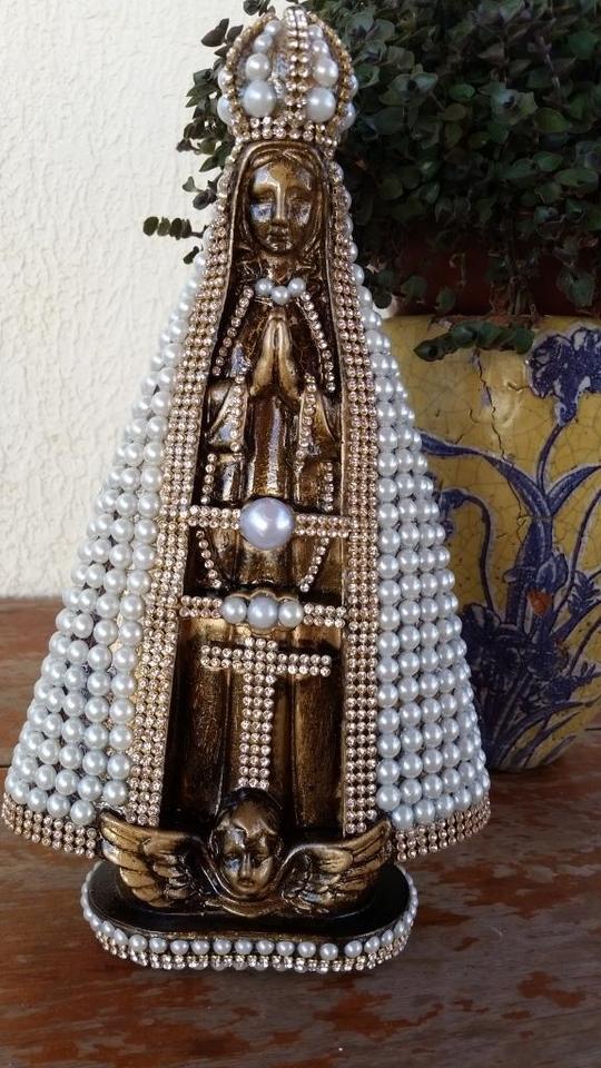 Nossa Senhora Aparecida Barroca com manto em perolas 30cm