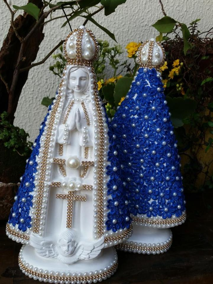 Nossa Senhora Aparecida com Guipir 30cm azul
