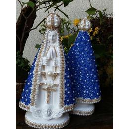 Nossa Senhora Aparecida com Guipir 30cm azul/beje