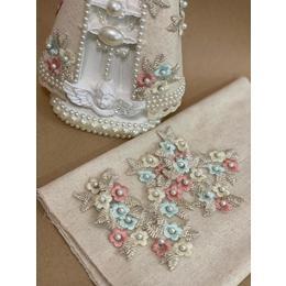 Kit Flores bordadas e linho para imagens