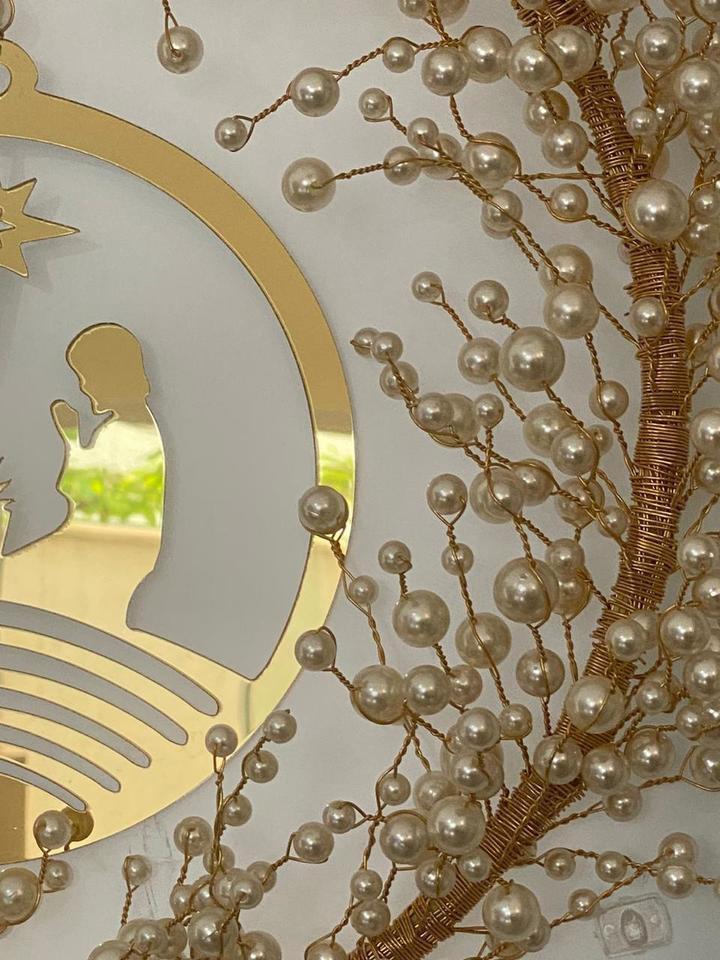 Kit Guirlanda Perolas Luxo - Faça você mesmo dourada