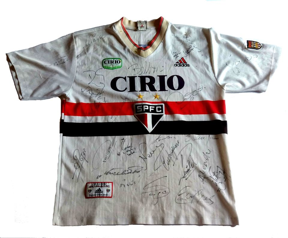 Camisa do SÃO PAULO Original ADIDAS Autografada Pelo Elenco de 1999 ... 5ea1c99ba1d19