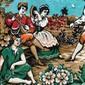 Grande Tapeçaria ESPANHOLA Representando Nobres em Musical, Tecido Aveludado com Franjas, Medindo 166cm