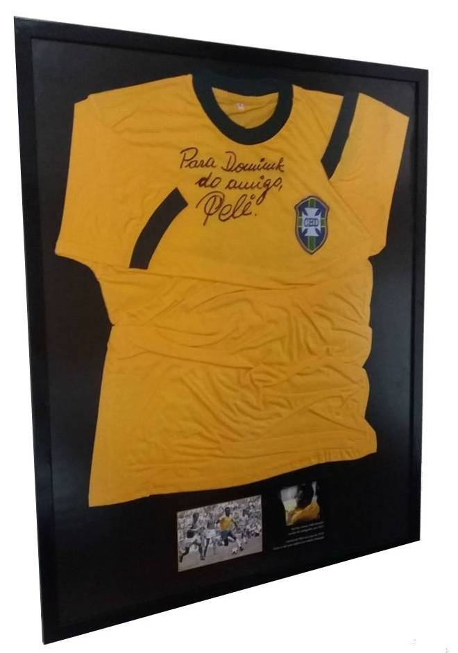 Camisa Autografada Pelo Rei PELÉ Seleção Brasileira Copa de 1970 ... b88d7774ccd38