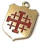 """Pingente Cruz de Jerusalém  """"Ex Crypt of The Annunciation Nazareth"""" com Fragmento da Ex Basílica da Anunciação Ano 1954"""