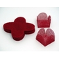 50 Un. Forminhas para Doces 4 Pétalas Caixeta Quadrada em Tela Vermelha