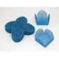50 Forminhas para Doces 4 Pétalas Caixeta Quadrada Tela Azul Turquesa