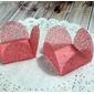 50 Un. Forminhas para Doces 4 Pétalas Caixeta Quadrada em Tela Rosa Chá