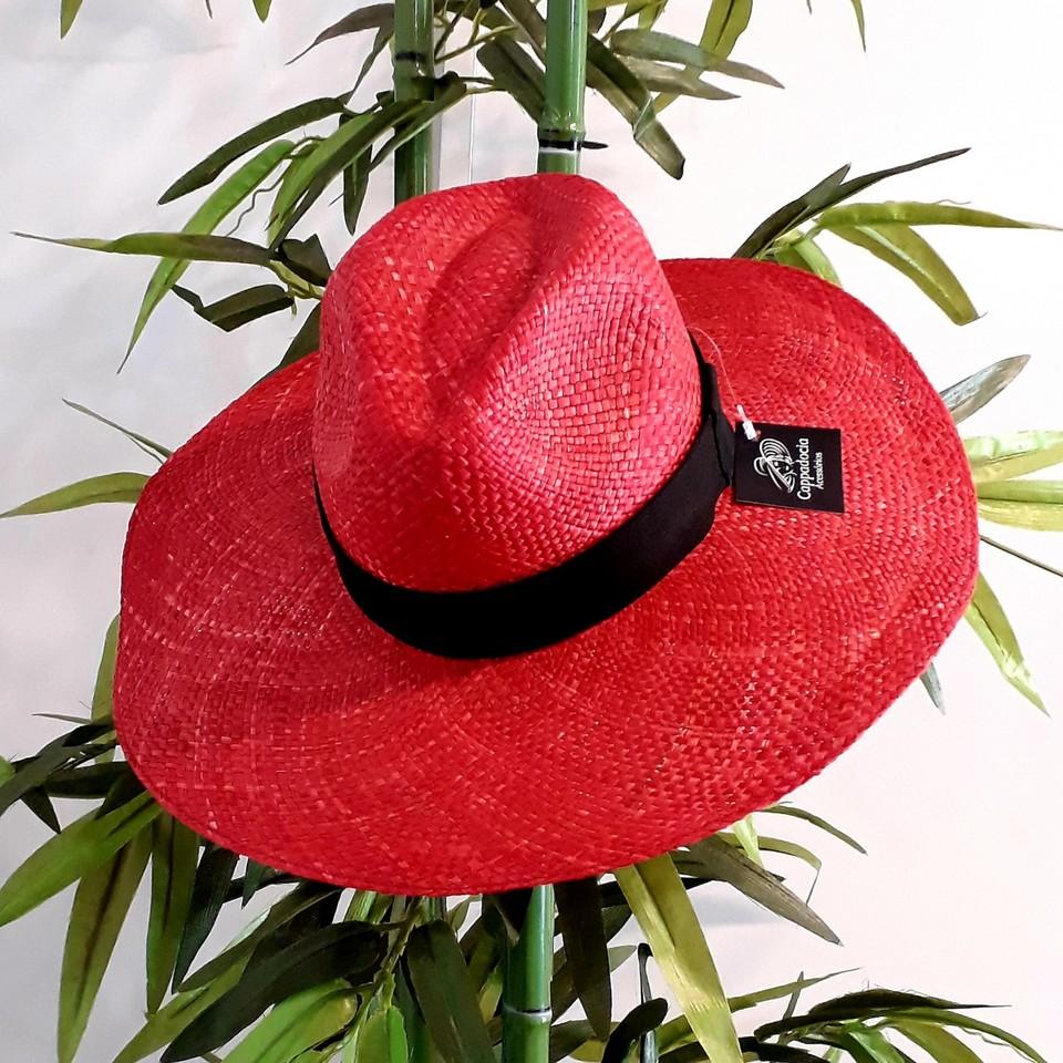 Chapéu Panamá Aba Grande Vermelho - Cappadocia Acessórios 96fb2d162bb
