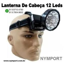 Lanterna De Cabeça 12 Leds Recarregavel C/ 2 Estágios De Luz