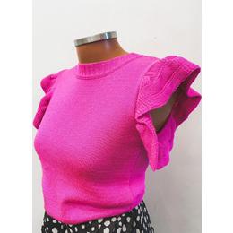 Blusa babados rosa neon