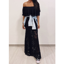 Vestido Longo renda black