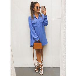 Camisa long blue