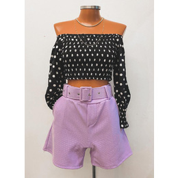 Shorts alfaiataria lilás