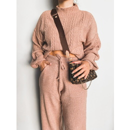 Conjunto tricô rosê