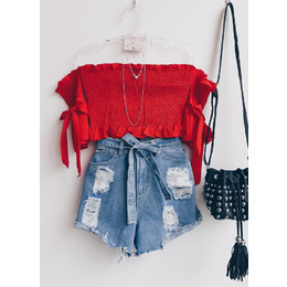 Cropped Lastex Lu red