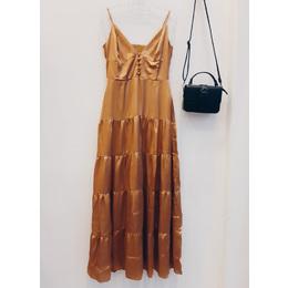Vestido Longo cetim gold