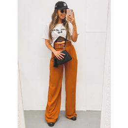 Calça pantalona carmel
