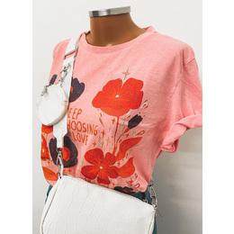 Tee Long floral red