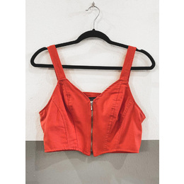 Cropped linho coral
