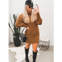 Mini dress tricô carmel