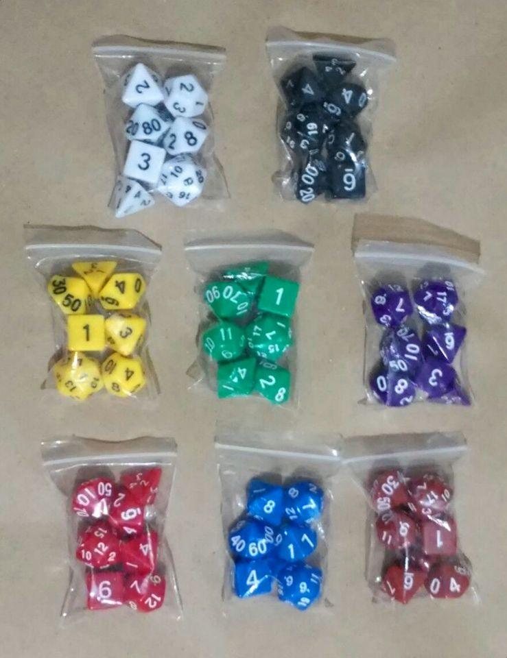 13e4c205b4 Kit de Dados para RPG com 7 Peças - D4, D6, D8, D10, D10%, D12 e D20 -  Cores Sólidas