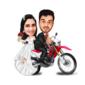 Caricatura de Casal Com Veículo