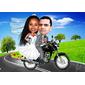 Caricatura de Casal Com Veículo e Cenário