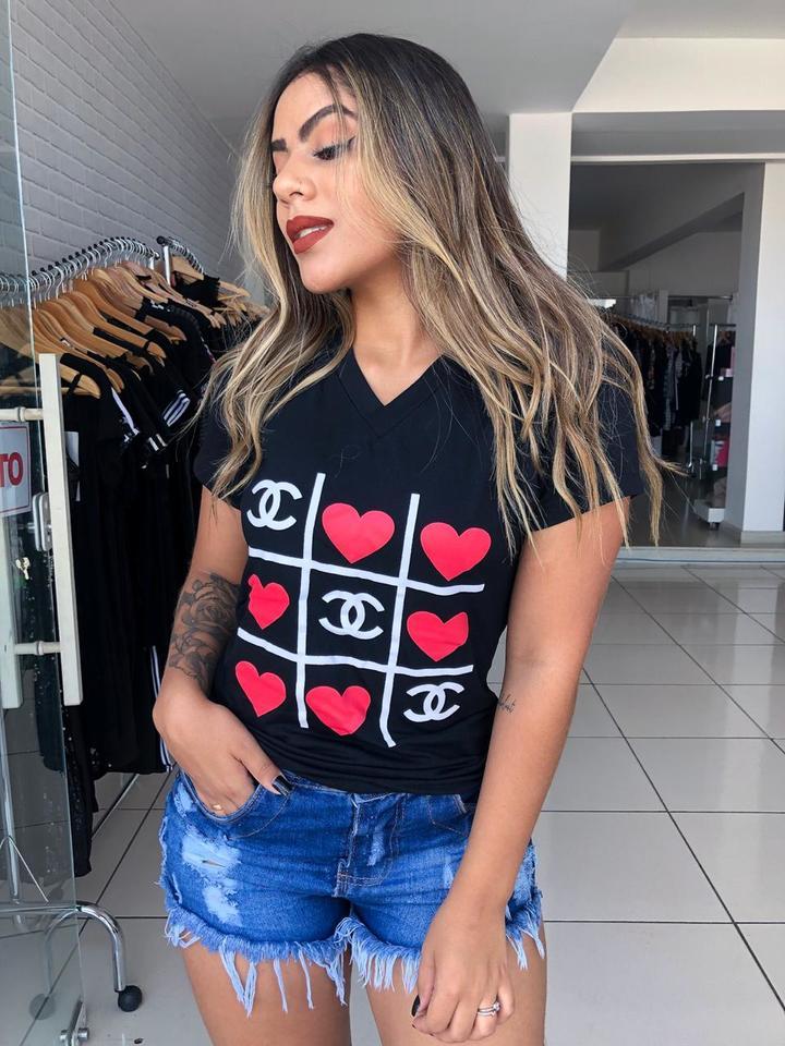 03b2fbf4fe5ad T-shirt Gola V ( jogo do amor) - FIGNANA ATACADO