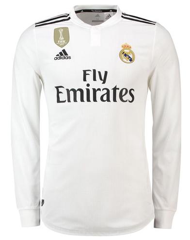 f86f00b57 ... Camisa da Real Madrid Mangas Longas - Home 2018  2019- Personalização e Frete  Grátis