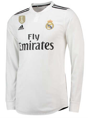Camisa da Real Madrid Mangas Longas - Home 2018 /2019- Personalização e Frete Grátis
