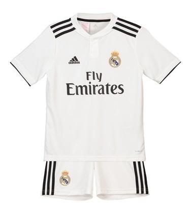 37f836529 Uniforme Infantil do Real Madrid Oficial Home 2018   2019 Personalização e  Frete Grátis Uniforme Infantil do Real Madrid Oficial Home 2018   2019 ...
