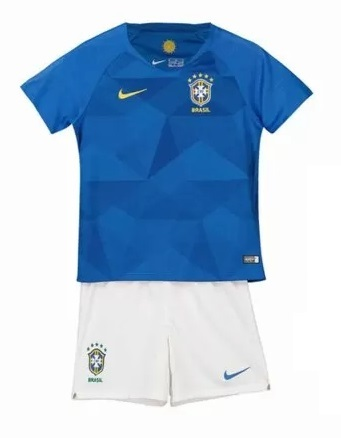 Uniforme Infantil da Seleção Brasileira Brasil 2018 - Away - Oficial Copa do Mundo - Personalização e Frete Grátis