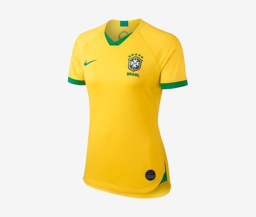 Camisa Baby Look Feminina do Brasil - Home - 2019 - Copa do Mundo - Personalização e Frete Grátis